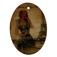 Retro Telephone Lady Vintage Newspaper Print Pin Up Girl Paris Eiffel Tower Oval Ornament by chicelegantboutique