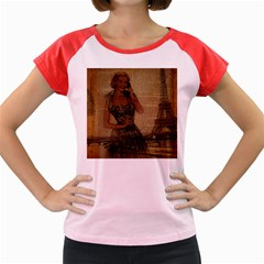 Retro Telephone Lady Vintage Newspaper Print Pin Up Girl Paris Eiffel Tower Women s Cap Sleeve T-shirt (colored)