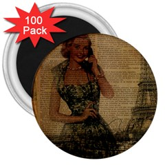 Retro Telephone Lady Vintage Newspaper Print Pin Up Girl Paris Eiffel Tower 3  Button Magnet (100 Pack)