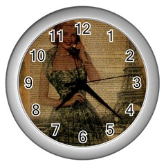 Retro Telephone Lady Vintage Newspaper Print Pin Up Girl Paris Eiffel Tower Wall Clock (silver) by chicelegantboutique
