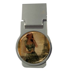 Retro Telephone Lady Vintage Newspaper Print Pin Up Girl Paris Eiffel Tower Money Clip (round) by chicelegantboutique