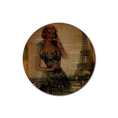 Retro Telephone Lady Vintage Newspaper Print Pin Up Girl Paris Eiffel Tower Drink Coaster (round) by chicelegantboutique