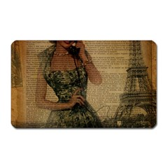 Retro Telephone Lady Vintage Newspaper Print Pin Up Girl Paris Eiffel Tower Magnet (rectangular) by chicelegantboutique