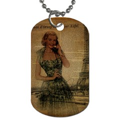 Retro Telephone Lady Vintage Newspaper Print Pin Up Girl Paris Eiffel Tower Dog Tag (one Sided) by chicelegantboutique