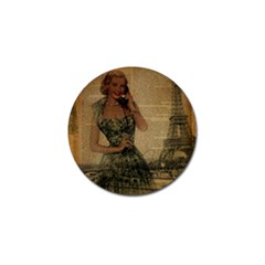 Retro Telephone Lady Vintage Newspaper Print Pin Up Girl Paris Eiffel Tower Golf Ball Marker by chicelegantboutique