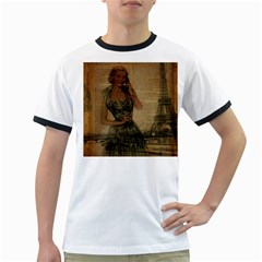 Retro Telephone Lady Vintage Newspaper Print Pin Up Girl Paris Eiffel Tower Mens' Ringer T Shirt by chicelegantboutique