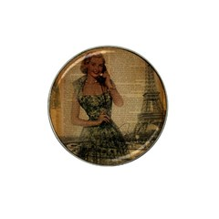 Retro Telephone Lady Vintage Newspaper Print Pin Up Girl Paris Eiffel Tower Golf Ball Marker 4 Pack (for Hat Clip) by chicelegantboutique