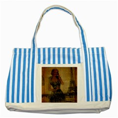 Retro Telephone Lady Vintage Newspaper Print Pin Up Girl Paris Eiffel Tower Blue Striped Tote Bag