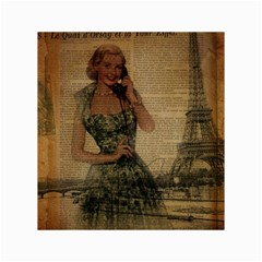 Retro Telephone Lady Vintage Newspaper Print Pin Up Girl Paris Eiffel Tower Canvas 18  X 24  (unframed) by chicelegantboutique