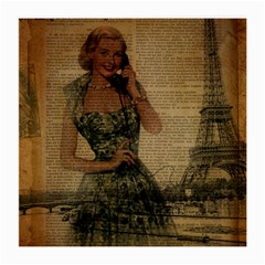 Retro Telephone Lady Vintage Newspaper Print Pin Up Girl Paris Eiffel Tower Glasses Cloth (medium, Two Sided) by chicelegantboutique