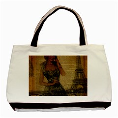 Retro Telephone Lady Vintage Newspaper Print Pin Up Girl Paris Eiffel Tower Twin Sided Black Tote Bag