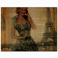 Retro Telephone Lady Vintage Newspaper Print Pin Up Girl Paris Eiffel Tower Canvas 11  X 14  (unframed)