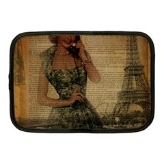 Retro Telephone Lady Vintage Newspaper Print Pin Up Girl Paris Eiffel Tower Netbook Case (medium) by chicelegantboutique