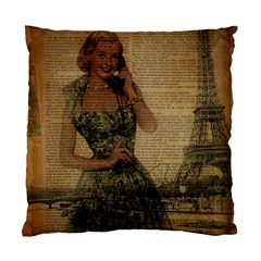 Retro Telephone Lady Vintage Newspaper Print Pin Up Girl Paris Eiffel Tower Cushion Case (two Sided)