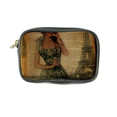 Retro Telephone Lady Vintage Newspaper Print Pin Up Girl Paris Eiffel Tower Coin Purse
