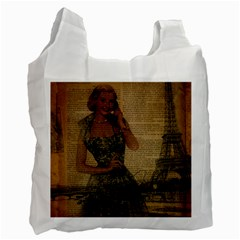 Retro Telephone Lady Vintage Newspaper Print Pin Up Girl Paris Eiffel Tower Recycle Bag (two Sides) by chicelegantboutique