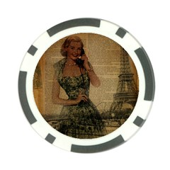 Retro Telephone Lady Vintage Newspaper Print Pin Up Girl Paris Eiffel Tower Poker Chip 10 Pack