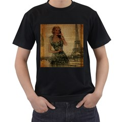 Retro Telephone Lady Vintage Newspaper Print Pin Up Girl Paris Eiffel Tower Mens' T-shirt (black) by chicelegantboutique