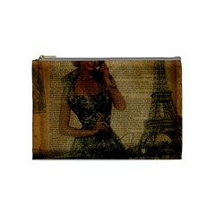 Retro Telephone Lady Vintage Newspaper Print Pin Up Girl Paris Eiffel Tower Cosmetic Bag (medium)