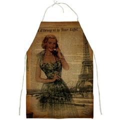 Retro Telephone Lady Vintage Newspaper Print Pin Up Girl Paris Eiffel Tower Apron