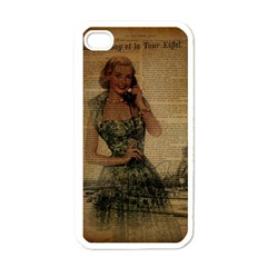 Retro Telephone Lady Vintage Newspaper Print Pin Up Girl Paris Eiffel Tower Apple Iphone 4 Case (white) by chicelegantboutique