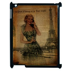 Retro Telephone Lady Vintage Newspaper Print Pin Up Girl Paris Eiffel Tower Apple Ipad 2 Case (black) by chicelegantboutique
