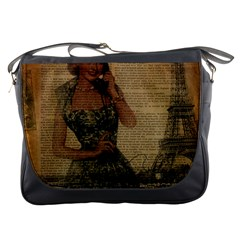 Retro Telephone Lady Vintage Newspaper Print Pin Up Girl Paris Eiffel Tower Messenger Bag
