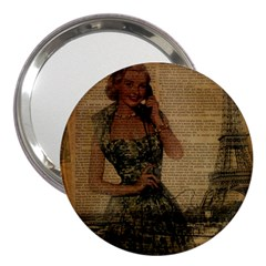 Retro Telephone Lady Vintage Newspaper Print Pin Up Girl Paris Eiffel Tower 3  Handbag Mirror by chicelegantboutique