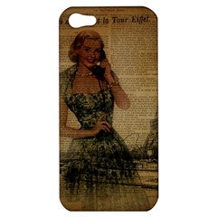 Retro Telephone Lady Vintage Newspaper Print Pin Up Girl Paris Eiffel Tower Apple Iphone 5 Hardshell Case by chicelegantboutique