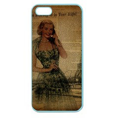 Retro Telephone Lady Vintage Newspaper Print Pin Up Girl Paris Eiffel Tower Apple Seamless Iphone 5 Case (color)