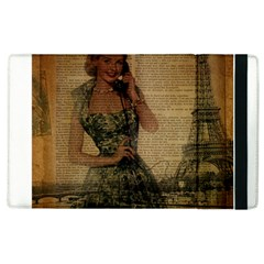 Retro Telephone Lady Vintage Newspaper Print Pin Up Girl Paris Eiffel Tower Apple Ipad 2 Flip Case by chicelegantboutique