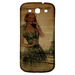Retro Telephone Lady Vintage Newspaper Print Pin Up Girl Paris Eiffel Tower Samsung Galaxy S3 S Iii Classic Hardshell Back Case by chicelegantboutique