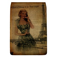 Retro Telephone Lady Vintage Newspaper Print Pin Up Girl Paris Eiffel Tower Removable Flap Cover (large)
