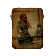Retro Telephone Lady Vintage Newspaper Print Pin Up Girl Paris Eiffel Tower Apple Ipad 2/3/4 Protective Soft Case by chicelegantboutique