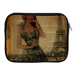 Retro Telephone Lady Vintage Newspaper Print Pin Up Girl Paris Eiffel Tower Apple Ipad 2/3/4 Zipper Case