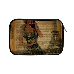 Retro Telephone Lady Vintage Newspaper Print Pin Up Girl Paris Eiffel Tower Apple Ipad Mini Zipper Case by chicelegantboutique