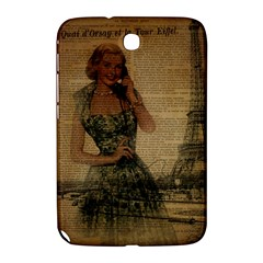 Retro Telephone Lady Vintage Newspaper Print Pin Up Girl Paris Eiffel Tower Samsung Galaxy Note 8 0 N5100 Hardshell Case  by chicelegantboutique
