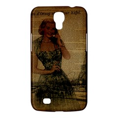 Retro Telephone Lady Vintage Newspaper Print Pin Up Girl Paris Eiffel Tower Samsung Galaxy Mega 6 3  I9200 by chicelegantboutique