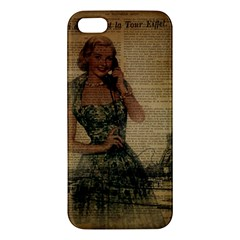 Retro Telephone Lady Vintage Newspaper Print Pin Up Girl Paris Eiffel Tower Iphone 5s Premium Hardshell Case