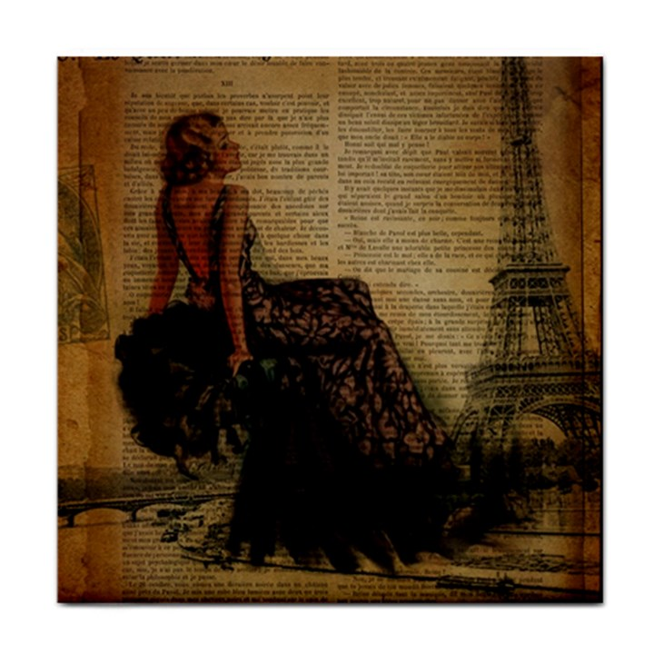 Elegant Evening Gown Lady Vintage Newspaper Print Pin Up Girl Paris Eiffel Tower Ceramic Tile