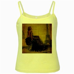 Elegant Evening Gown Lady Vintage Newspaper Print Pin Up Girl Paris Eiffel Tower Yellow Spaghetti Tank by chicelegantboutique