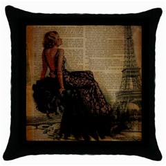Elegant Evening Gown Lady Vintage Newspaper Print Pin Up Girl Paris Eiffel Tower Black Throw Pillow Case by chicelegantboutique