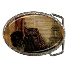 Elegant Evening Gown Lady Vintage Newspaper Print Pin Up Girl Paris Eiffel Tower Belt Buckle (oval) by chicelegantboutique