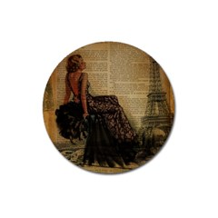 Elegant Evening Gown Lady Vintage Newspaper Print Pin Up Girl Paris Eiffel Tower Magnet 3  (round)
