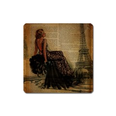 Elegant Evening Gown Lady Vintage Newspaper Print Pin Up Girl Paris Eiffel Tower Magnet (square) by chicelegantboutique