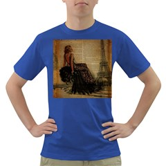 Elegant Evening Gown Lady Vintage Newspaper Print Pin Up Girl Paris Eiffel Tower Mens' T Shirt (colored) by chicelegantboutique