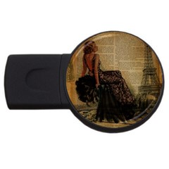 Elegant Evening Gown Lady Vintage Newspaper Print Pin Up Girl Paris Eiffel Tower 4gb Usb Flash Drive (round)