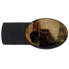 Elegant Evening Gown Lady Vintage Newspaper Print Pin Up Girl Paris Eiffel Tower 4gb Usb Flash Drive (oval)