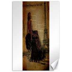 Elegant Evening Gown Lady Vintage Newspaper Print Pin Up Girl Paris Eiffel Tower Canvas 20  X 30  (unframed) by chicelegantboutique