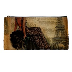 Elegant Evening Gown Lady Vintage Newspaper Print Pin Up Girl Paris Eiffel Tower Pencil Case by chicelegantboutique